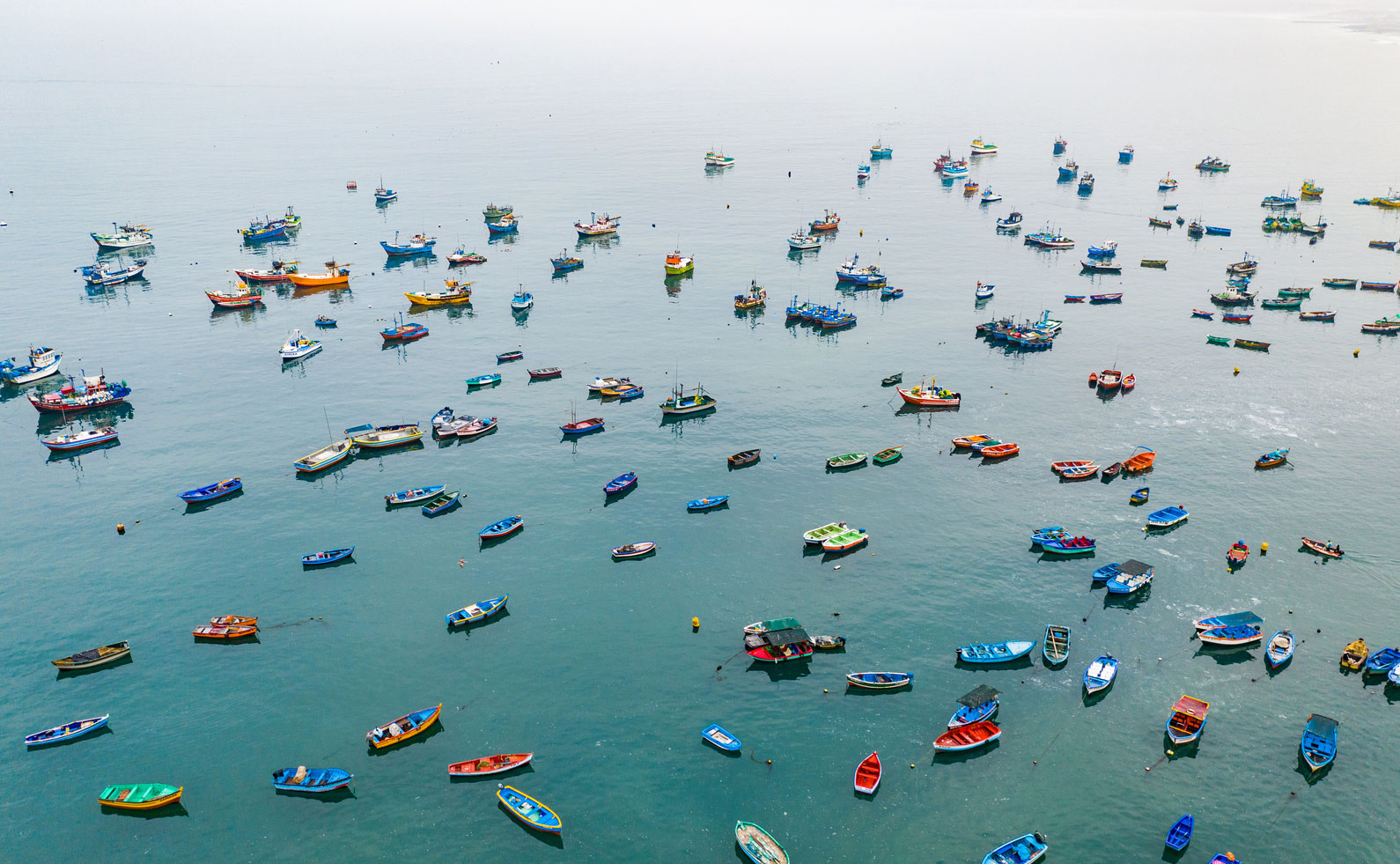 small fishing vessels from above
