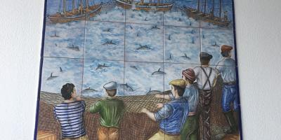 tile mural of fishing in spain